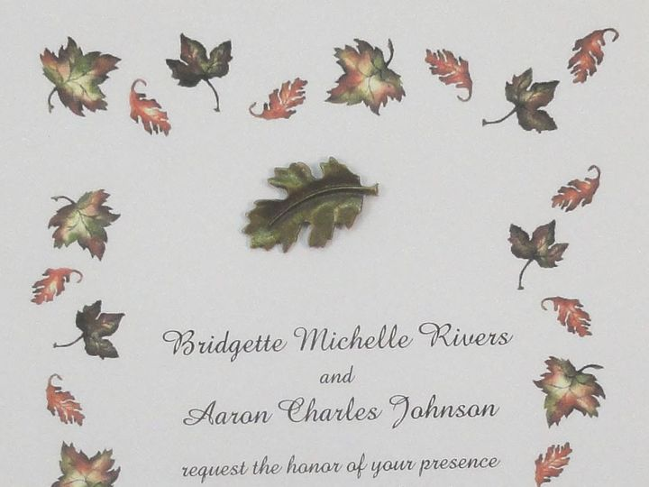 Tmx 1393948953186 Fall Maple Leaves Border Metal Lea South Berwick wedding invitation