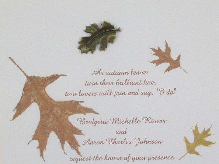 Tmx 1393948961785 Fall Oak Leaves Metal Lea South Berwick wedding invitation