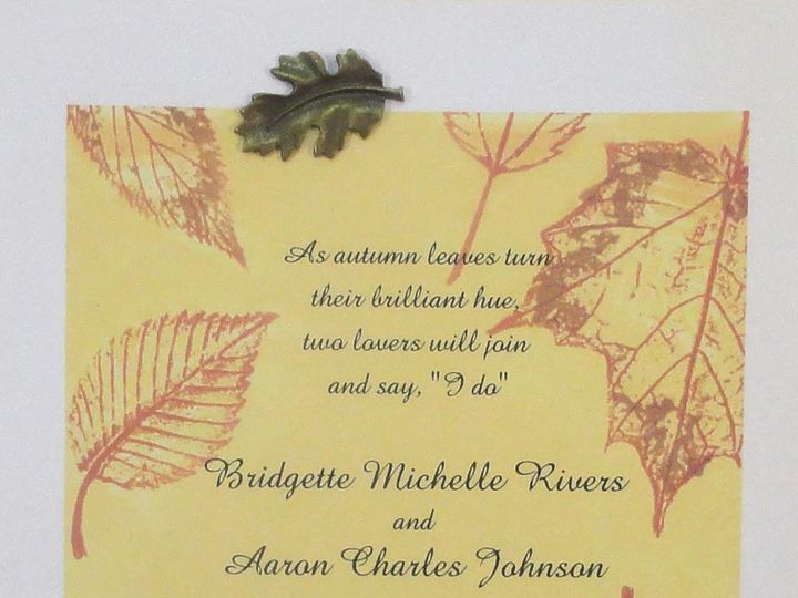 Tmx 1393948987812 Fall Yellow Printed Leaves Metal Lea South Berwick wedding invitation