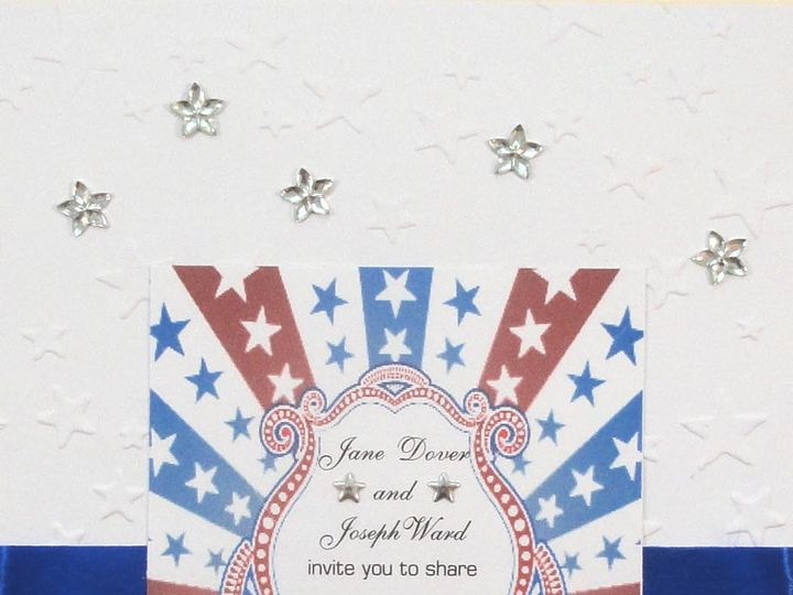 Tmx 1393949057011 Patriotic Stars Rhinestones Blue Ribbo South Berwick wedding invitation