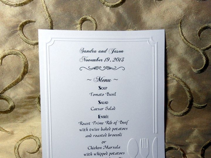 Tmx 1393949480870 Menu Embossed  South Berwick wedding invitation