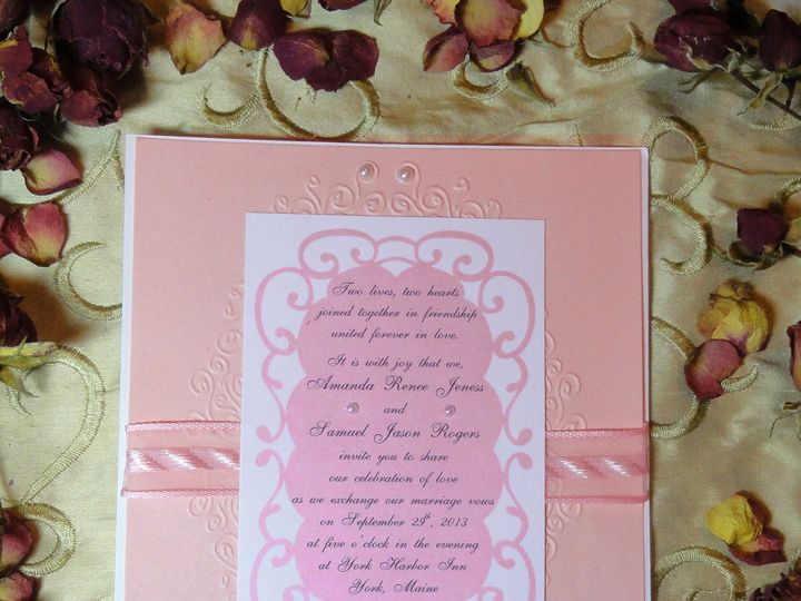 Tmx 1393949490806 Pink Embossed 1 South Berwick wedding invitation