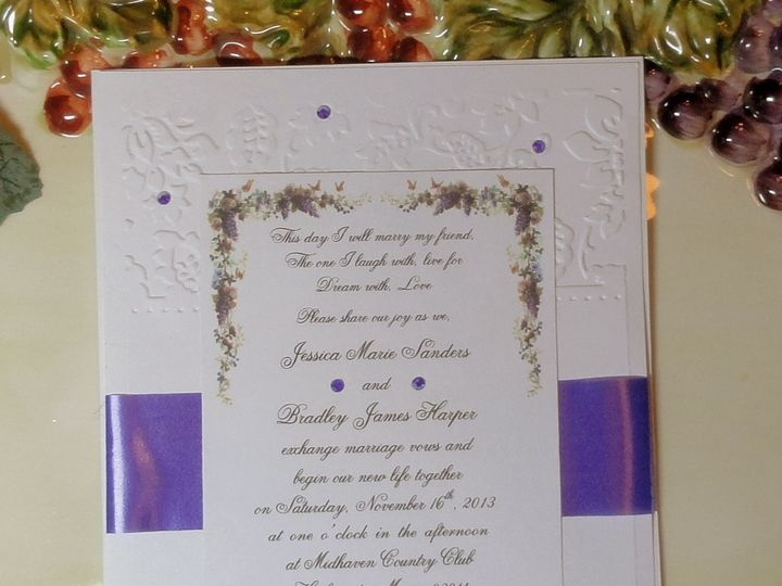Tmx 1393949532487 Wine Grapes Embossed 2 South Berwick wedding invitation