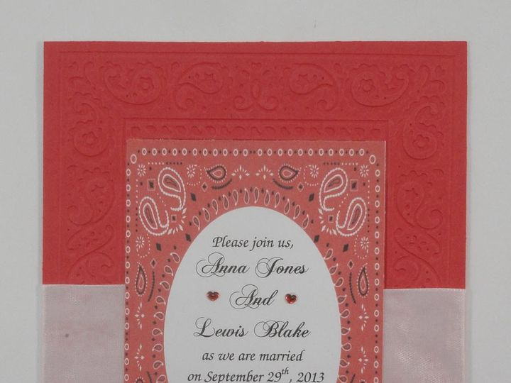 Tmx 1393949788760 Bandana Red White Ribbo South Berwick wedding invitation