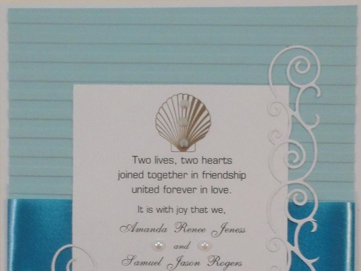Tmx 1393949805543 Beach Heart Blue With Scroll South Berwick wedding invitation