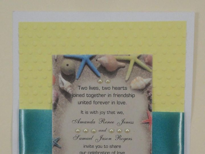 Tmx 1393949819255 Beach Starfish Shells On Yello South Berwick wedding invitation