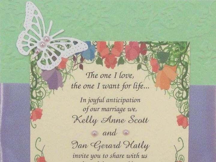 Tmx 1393949823826 Butterflies Garden On Green Purple Ribbo South Berwick wedding invitation