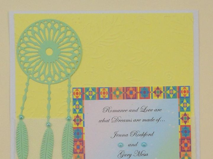 Tmx 1393949900414 Dreamcatcher Green On Yellow Colorful Borde South Berwick wedding invitation
