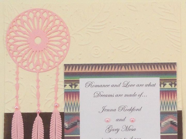 Tmx 1393949911170 Dreamcatcher Pink On Ivory Brown Ribbo South Berwick wedding invitation