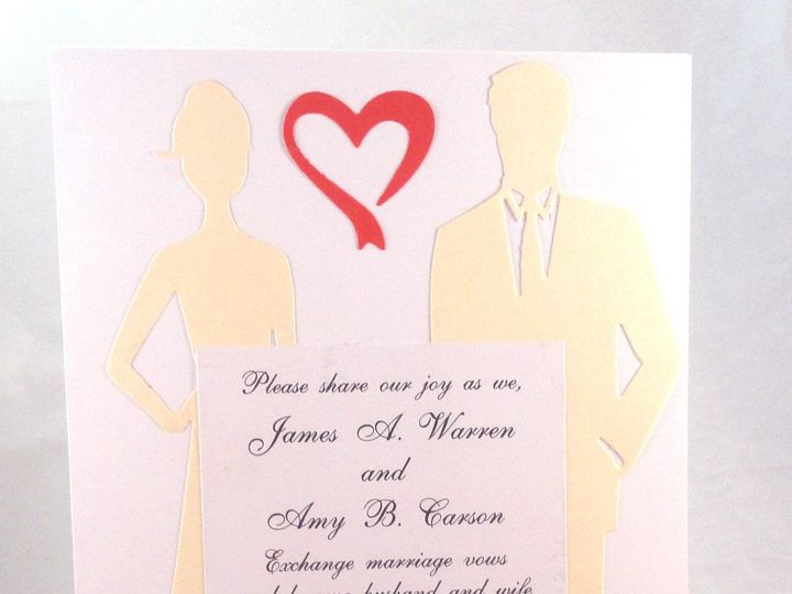 Tmx 1393950072306 Ivory Couple Red Hear South Berwick wedding invitation