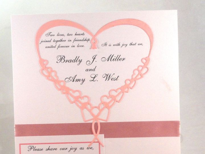 Tmx 1393950102156 Pink Heart Mini Rsvp Close South Berwick wedding invitation