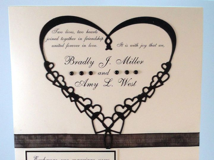 Tmx 1393950193432 Heart Black On Ivory With Mini Rsvp Close South Berwick wedding invitation
