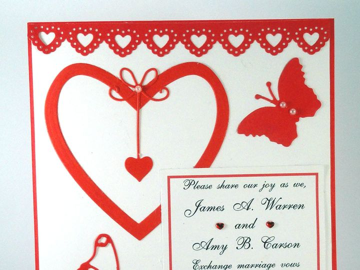 Tmx 1393950201446 Heart Red Butterflies Edge Heart South Berwick wedding invitation