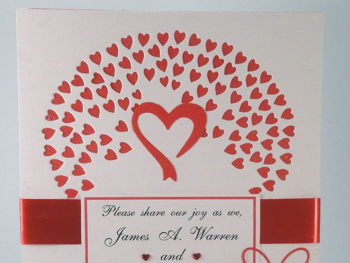 Tmx 1393950237212 Hearts Red Red Ribbon South Berwick wedding invitation