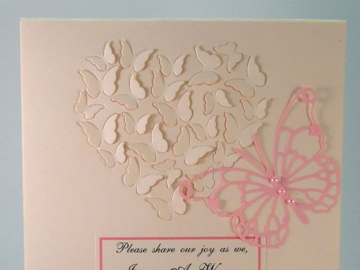 Tmx 1393950243577 Pink Butterflies On Ivory White Printed Ribbo South Berwick wedding invitation