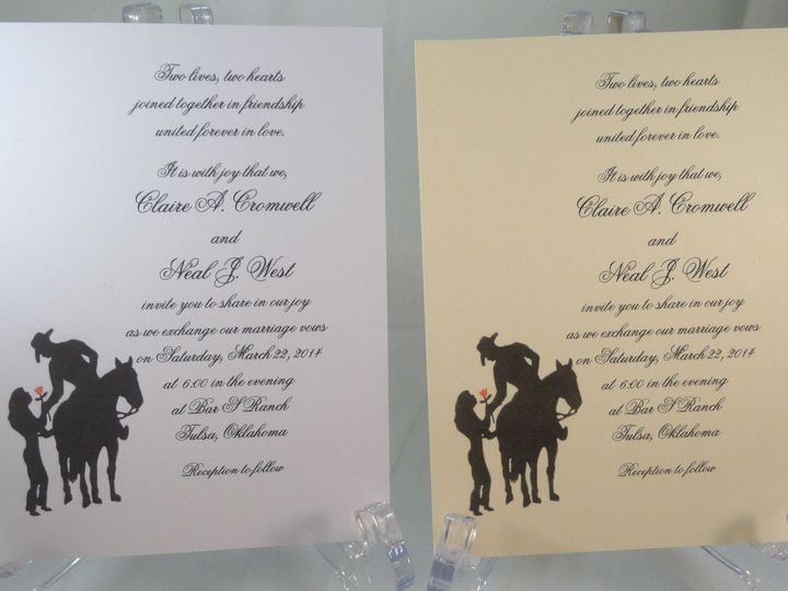 Tmx 1393950545912 Western Couple Silhouette Ros South Berwick wedding invitation