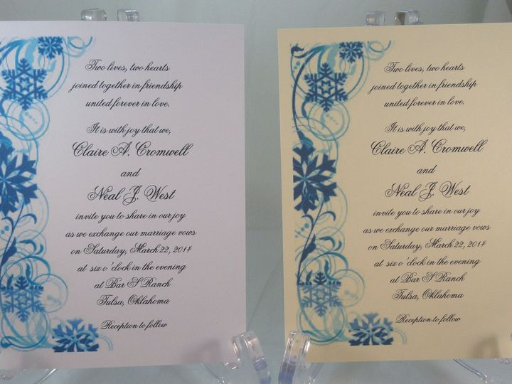 Tmx 1393950829474 Snowflakes Side Border Blu South Berwick wedding invitation