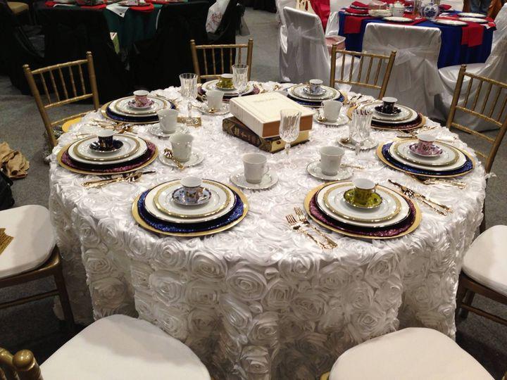 Tmx 1484137610432 White Rosette Tablecloth Runner Rentals Am Linen R Dallas, Texas wedding rental