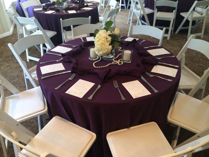 Tmx 1484137917299 Eggplant Polyester Tablecloth Napkin Sash Runner R Dallas, Texas wedding rental