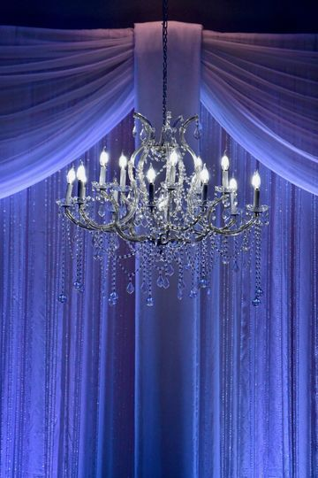 Elegant chandelier with drapery