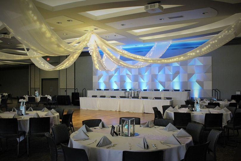 Reception decor and lighting