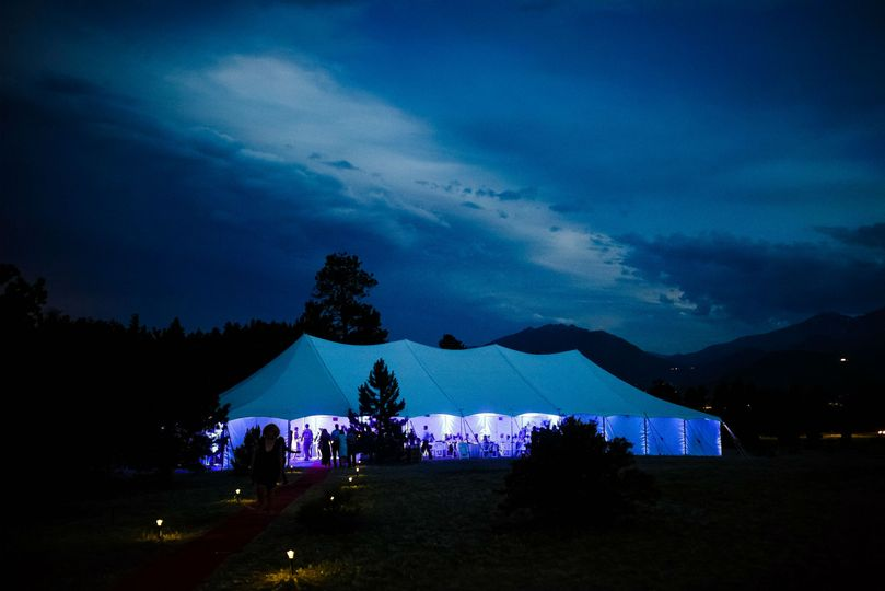 night photo of tented wedding reception2