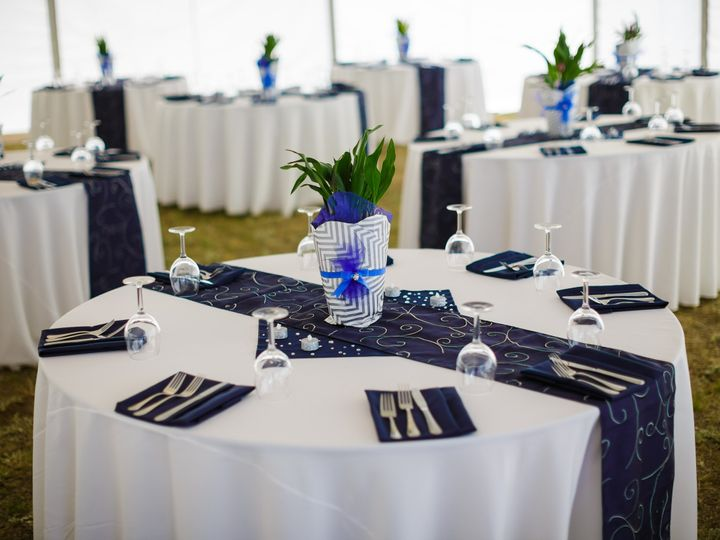 Tmx 1487609402677 Navy Napkins And Swirl Runners Fort Collins wedding rental