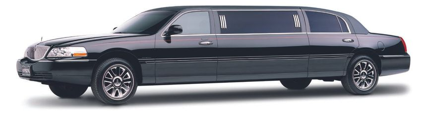 Six passenger black Lincoln limousine