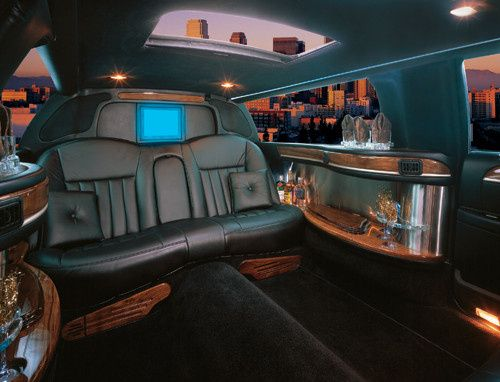 Black six passenger limousine interior