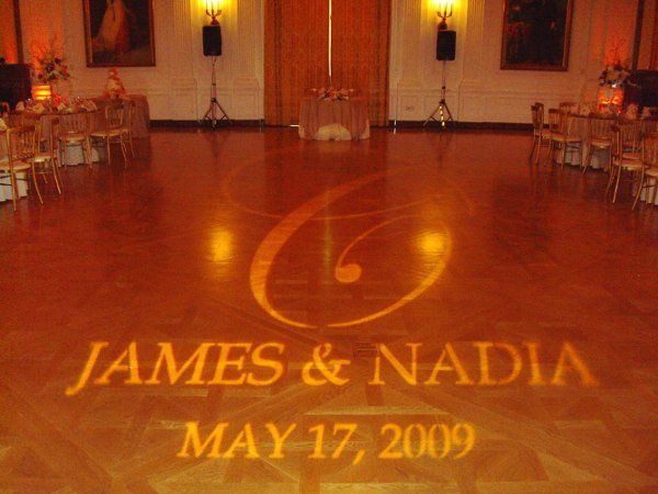 We offer many lighting options for your event such as custom gobo designs as seen here.