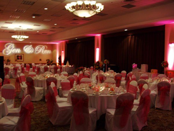 Uplighting and a custom gobo can help make your reception spectacular.