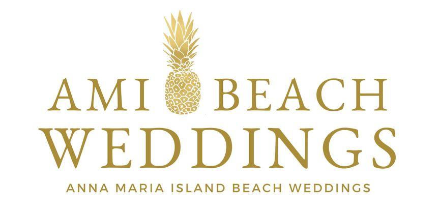 AMI Beach Weddings white logo