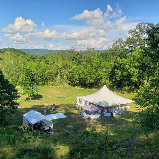 Wedding tent from the ridge