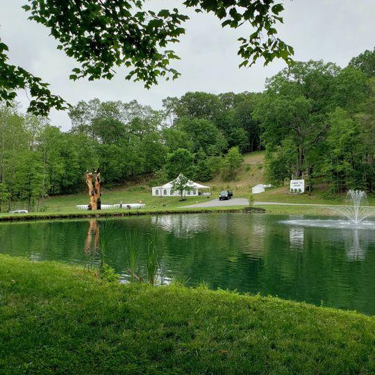 Wedding setup across pond