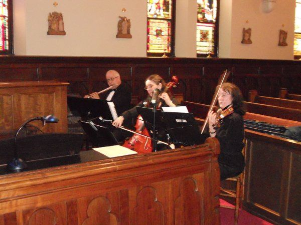 Trio performance in a church