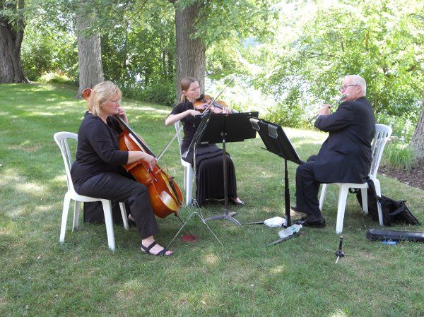 Cello, violin, and flute