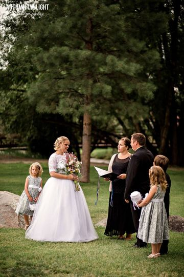 Intimate wedding ceremony for a bride and groom from Kansas, in McPhelmy Park, Buena Vista, Colorado