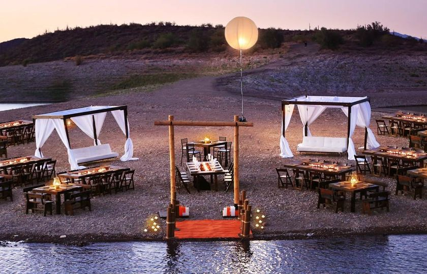 fire tables with cabanas