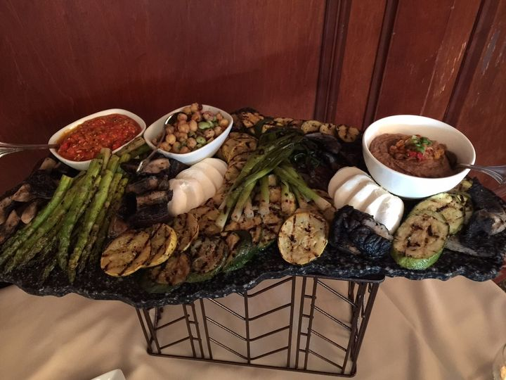 grilled and chilled vegetable display