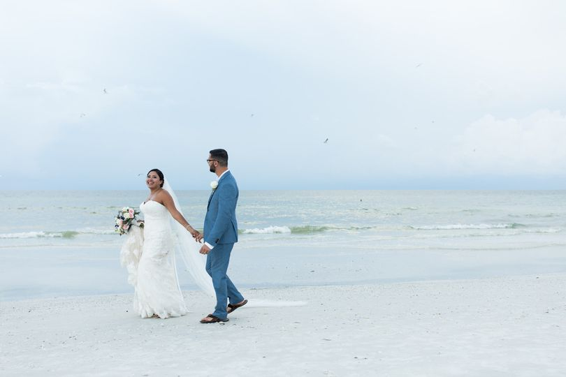 Romantic stroll along the beach