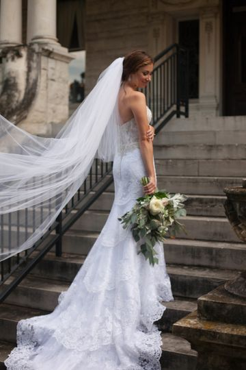 Bride by the steps