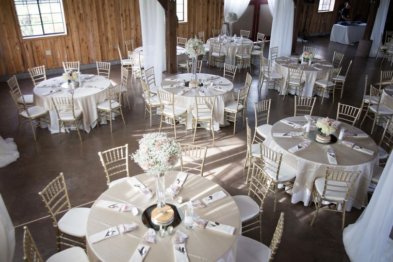Reception inside barn