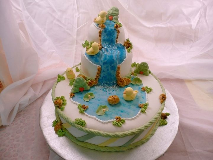 A lovely baby shower or child's birthday cake.
