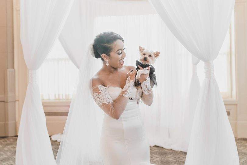 Bride and the pupper