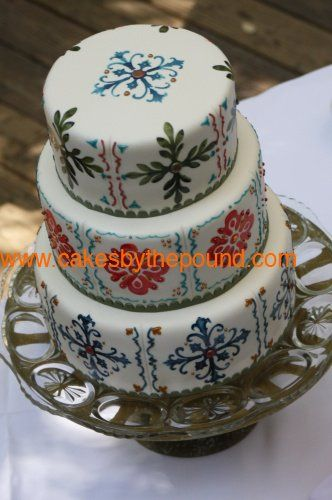 Hand Painted Talavera Wedding Cake-Cake was delivered to Calamigos Ranch in Malibu