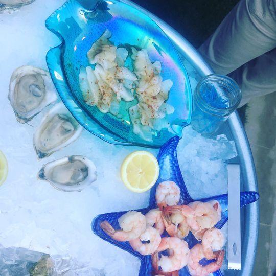 Sea bass sashimi, oysters