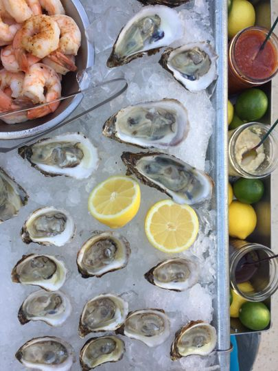 Oysters, shrimp, sauces