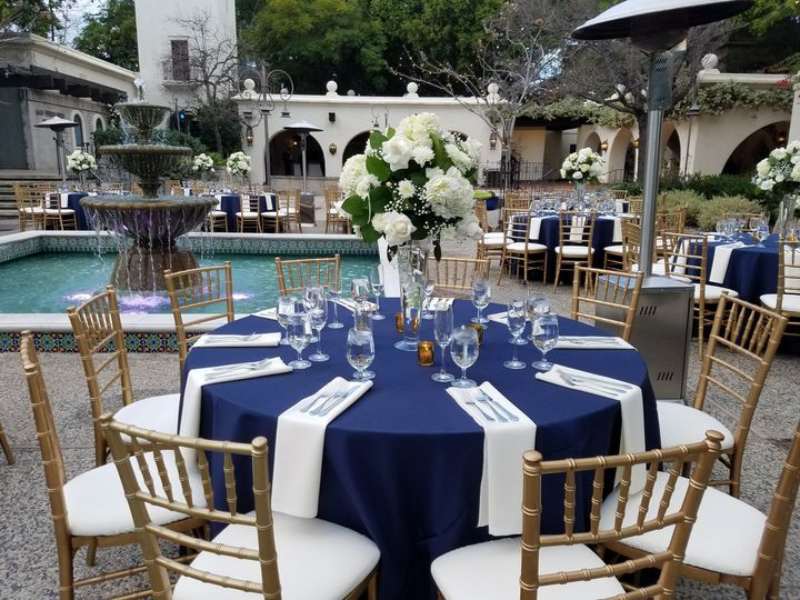 Blue tables and floral decor