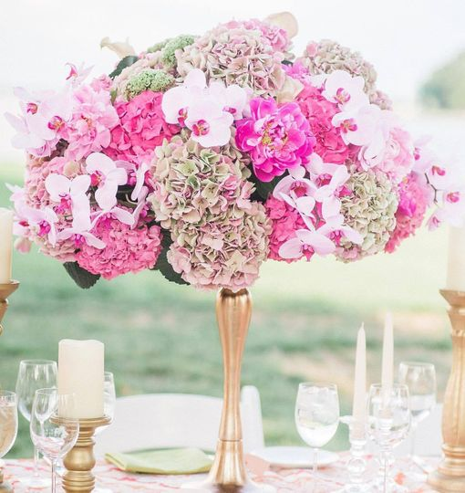 Hydrangea, Peonies, and Orchid