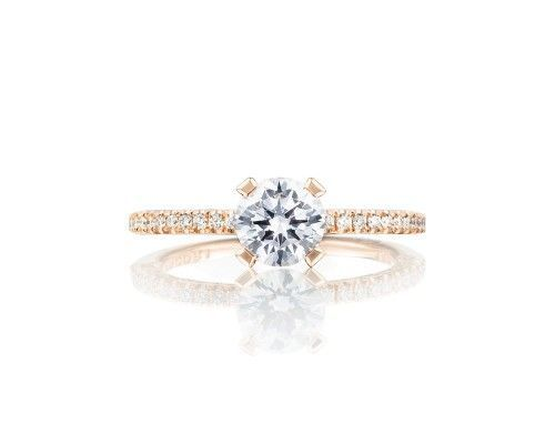 TACORIht254515rd6pk Delicate and dainty, this exceptional rose gold Tacori engagement ring with a...